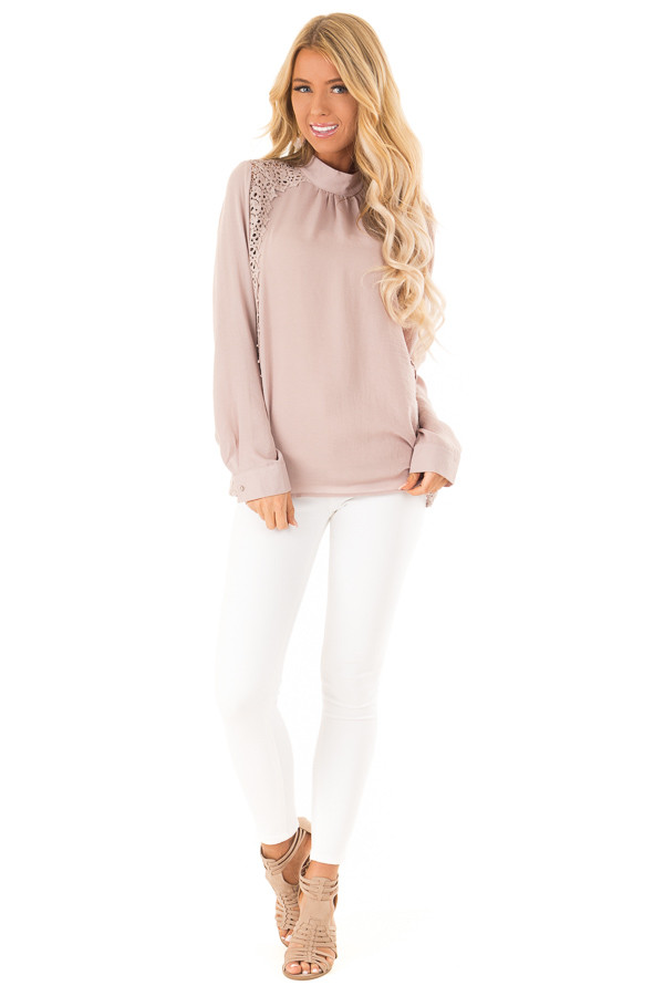 Dusty Pink Mock Neck Long Sleeve Top with Sheer Lace Detail front full body
