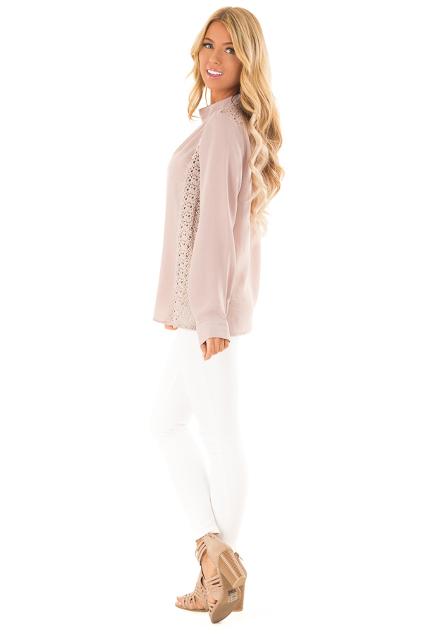 Dusty Pink Mock Neck Long Sleeve Top with Sheer Lace Detail side full body