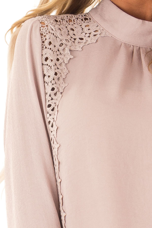 Dusty Pink Mock Neck Long Sleeve Top with Sheer Lace Detail detail