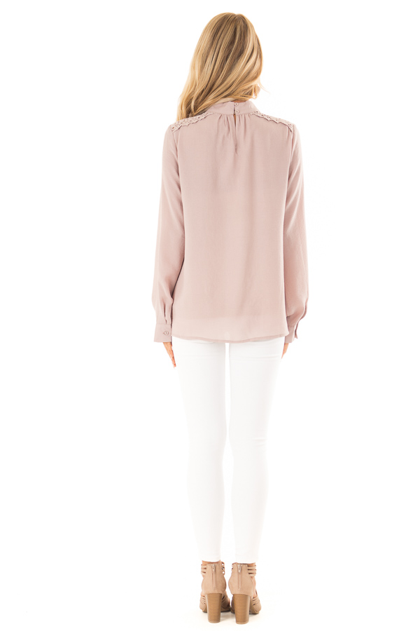 Dusty Pink Mock Neck Long Sleeve Top with Sheer Lace Detail back full body