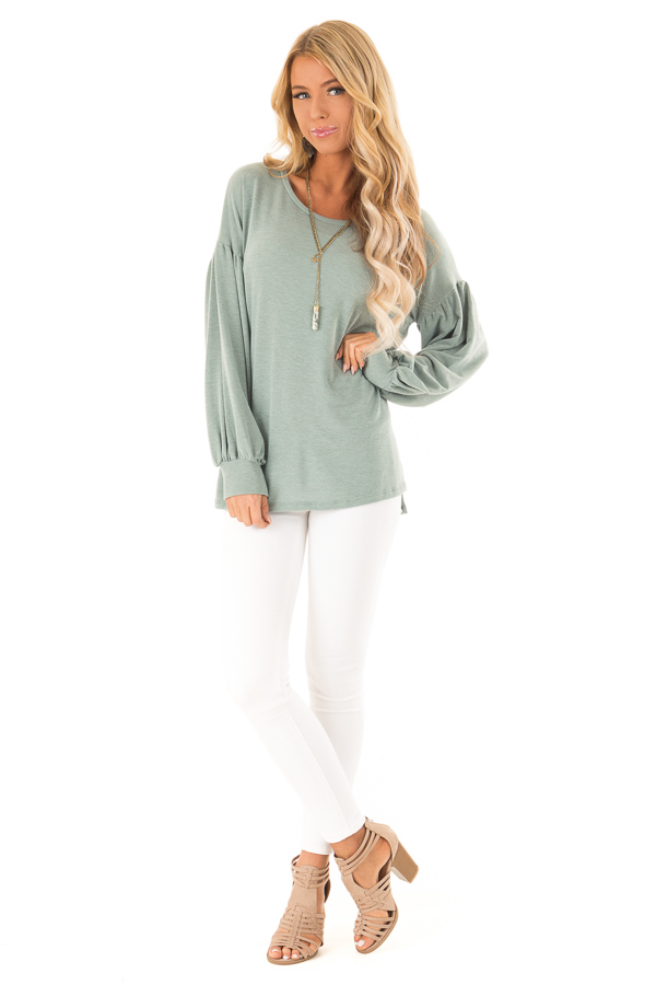 Dusty Olive Long Sleeve Hi Low Top with Bishop Sleeves front full body