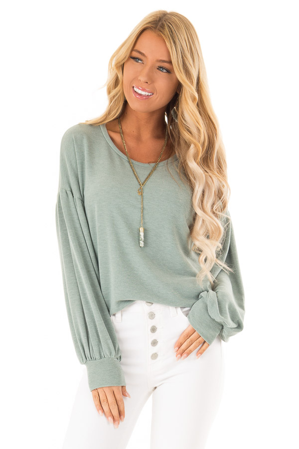 Dusty Olive Long Sleeve Hi Low Top with Bishop Sleeves front close up