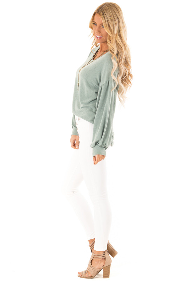 Dusty Olive Long Sleeve Hi Low Top with Bishop Sleeves side full body