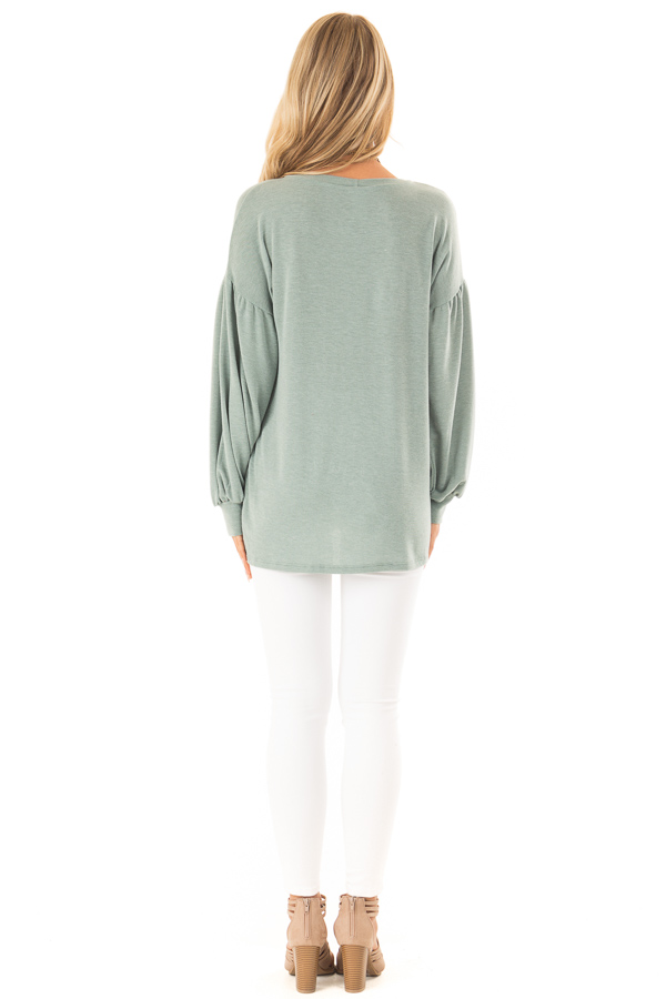 Dusty Olive Long Sleeve Hi Low Top with Bishop Sleeves back full body