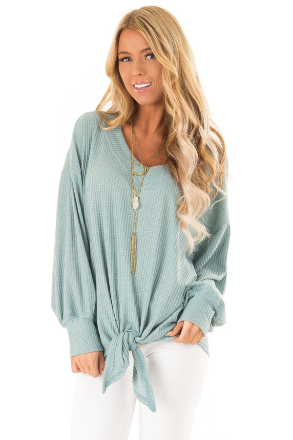 Dusty Blue Waffle Knit Top with Long Puff Sleeves and Tie front close