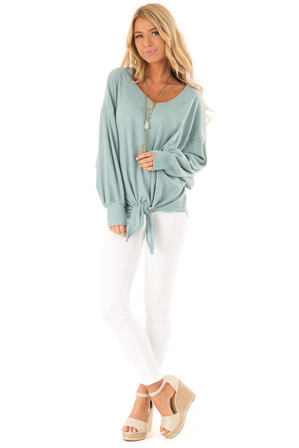 Dusty Blue Waffle Knit Top with Long Puff Sleeves and Tie front full body