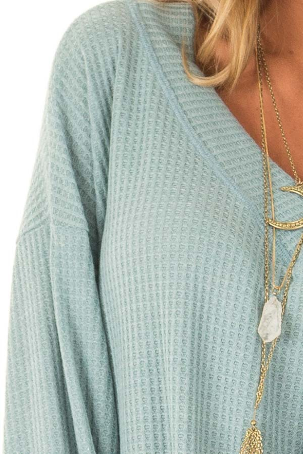 Dusty Blue Waffle Knit Top with Long Puff Sleeves and Tie detail