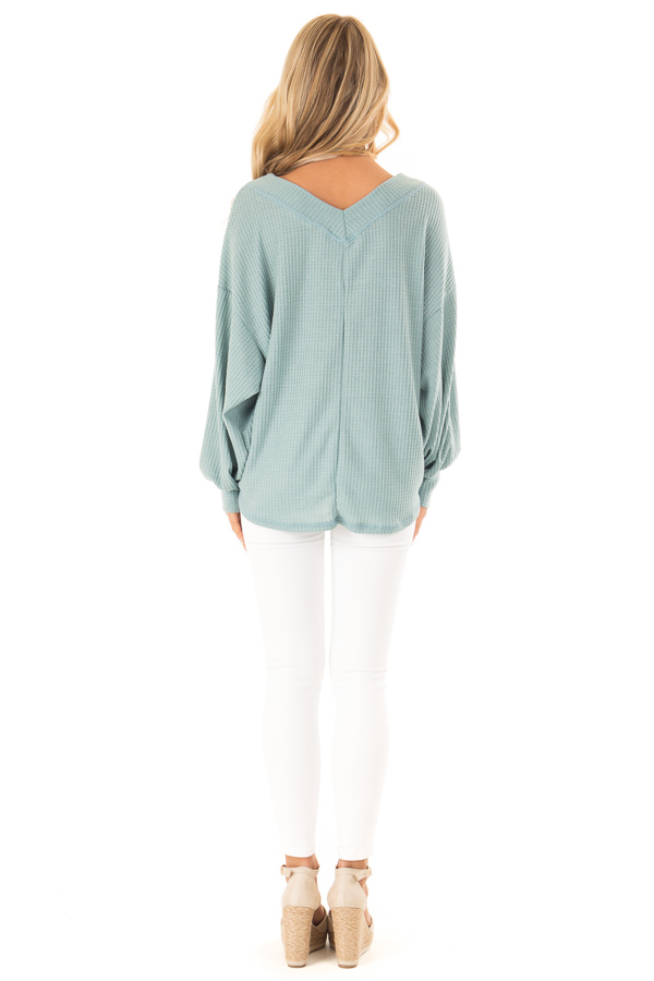 Dusty Blue Waffle Knit Top with Long Puff Sleeves and Tie back full body