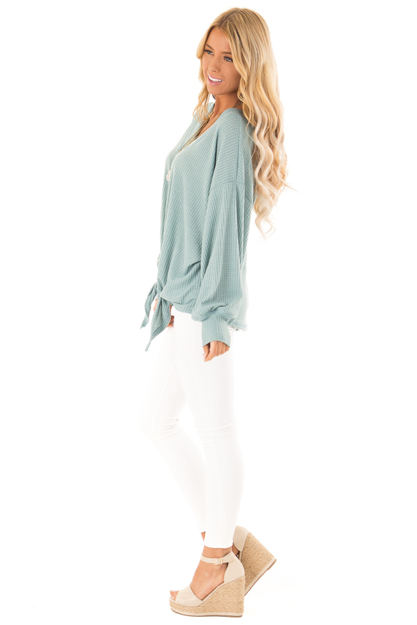 Dusty Blue Waffle Knit Top with Long Puff Sleeves and Tie side full body