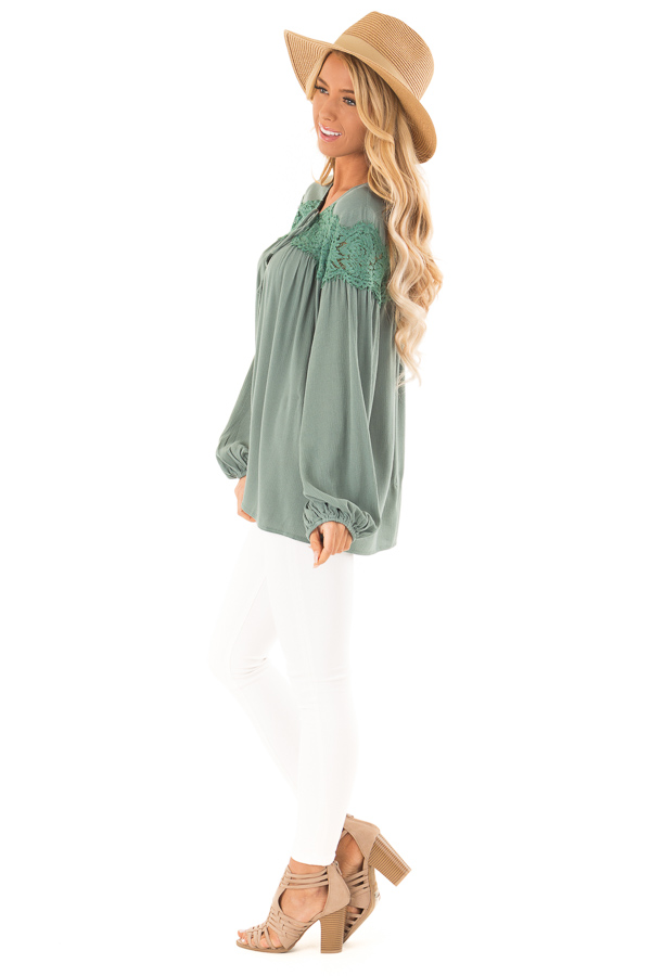 Emerald Long Sleeve Top with Front Tie and Lace Detail side full body