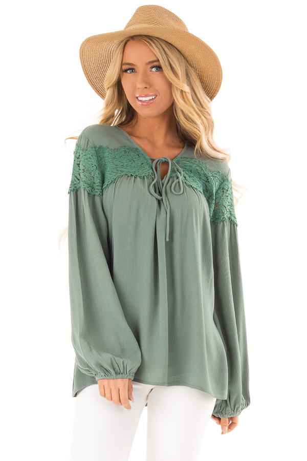 Emerald Long Sleeve Top with Front Tie and Lace Detail front close up