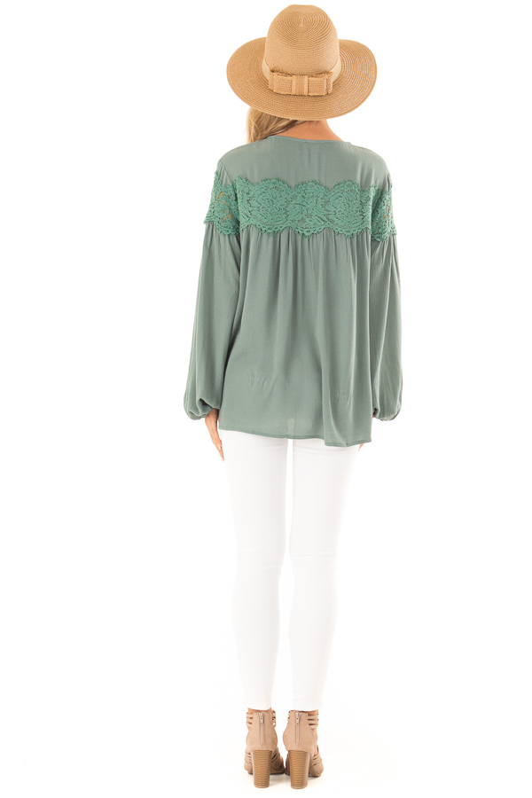 Emerald Long Sleeve Top with Front Tie and Lace Detail back full body