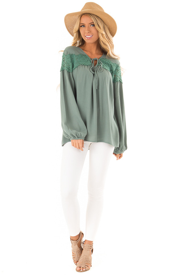 Emerald Long Sleeve Top with Front Tie and Lace Detail front full body