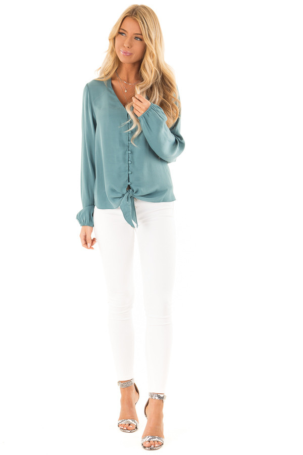 Deep Teal Button Up Top with Front Tie and Long Sleeves front full body