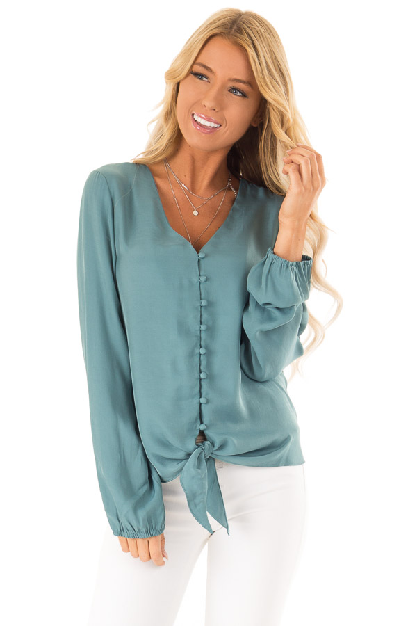 Deep Teal Button Up Top with Front Tie and Long Sleeves front close up