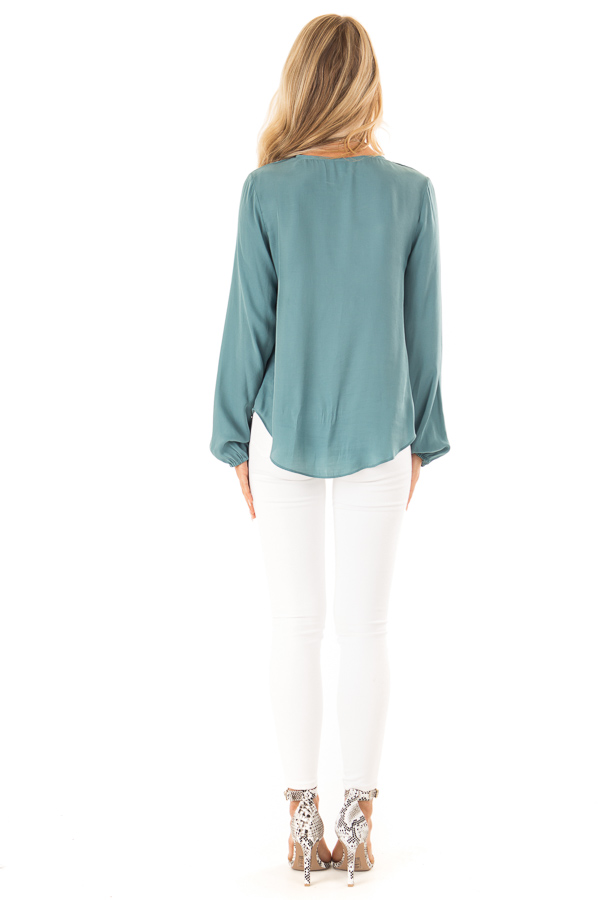 Deep Teal Button Up Top with Front Tie and Long Sleeves back full body