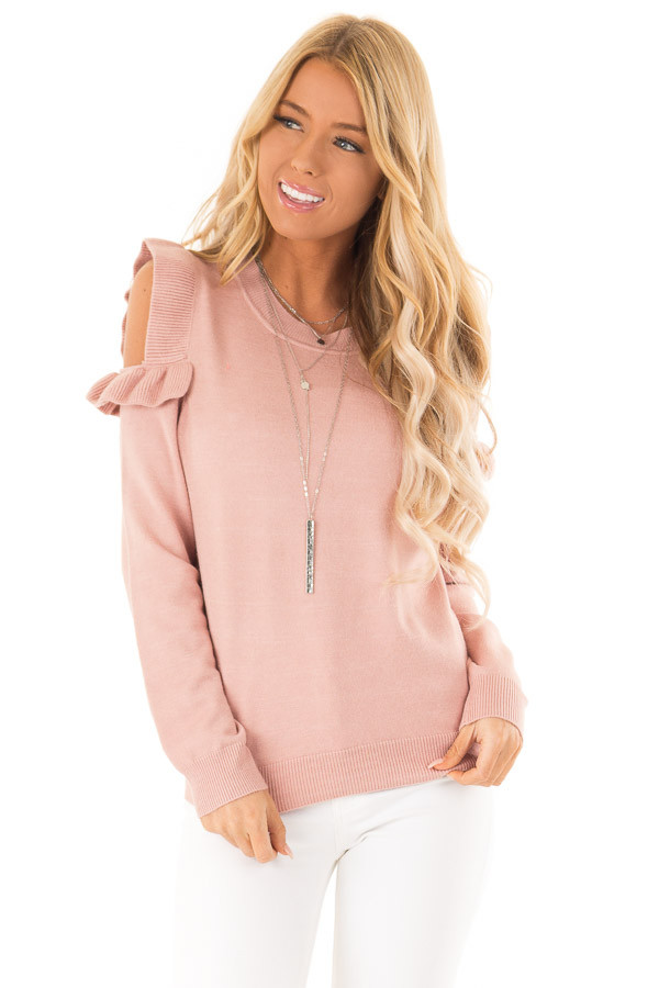 Blush Cold Shoulder Top with Long Sleeves and Ruffle Detail front close up