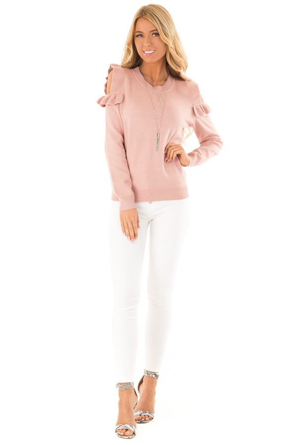 Blush Cold Shoulder Top with Long Sleeves and Ruffle Detail front full body