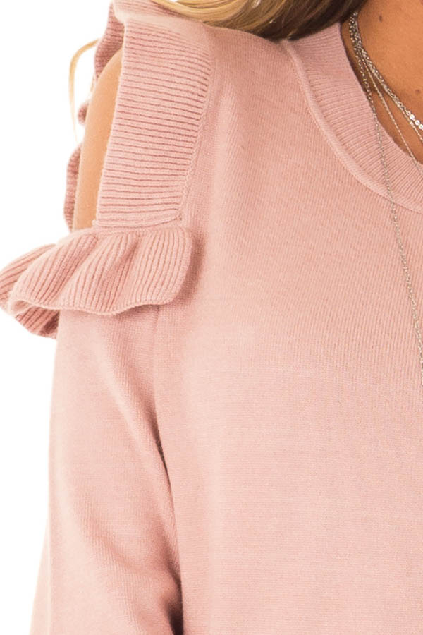 Blush Cold Shoulder Top with Long Sleeves and Ruffle Detail detail