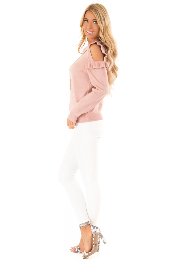 Blush Cold Shoulder Top with Long Sleeves and Ruffle Detail side full body