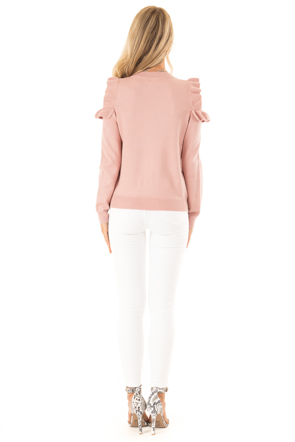 Blush Cold Shoulder Top with Long Sleeves and Ruffle Detail back full body