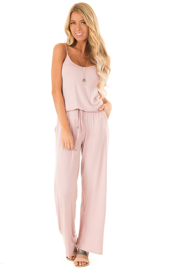 Dusty Mauve Sleeveless Jumpsuit with Elastic Waist Tie front full body