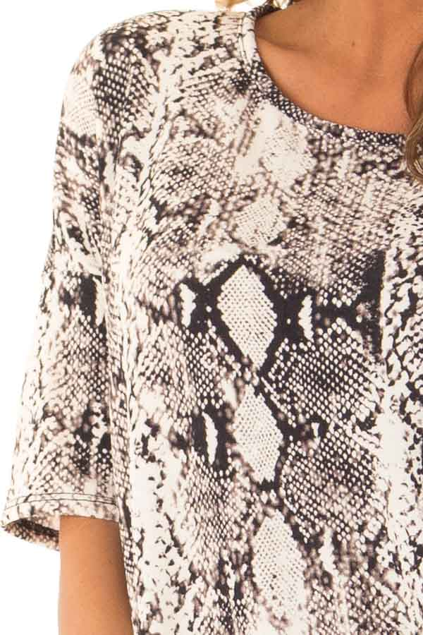 Charcoal and Ivory Snake Print Loose Fit Tunic Top detail
