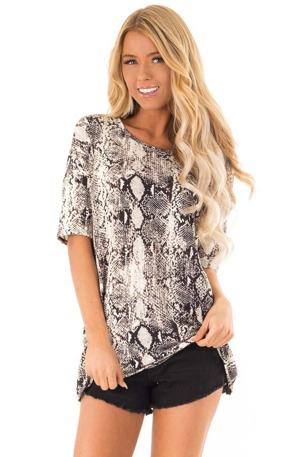Charcoal and Ivory Snake Print Loose Fit Tunic Top front close up