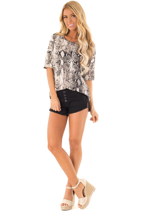 Charcoal and Ivory Snake Print Loose Fit Tunic Top front full body