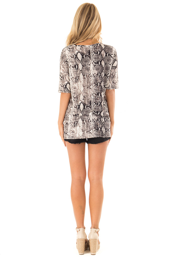 Charcoal and Ivory Snake Print Loose Fit Tunic Top back full body