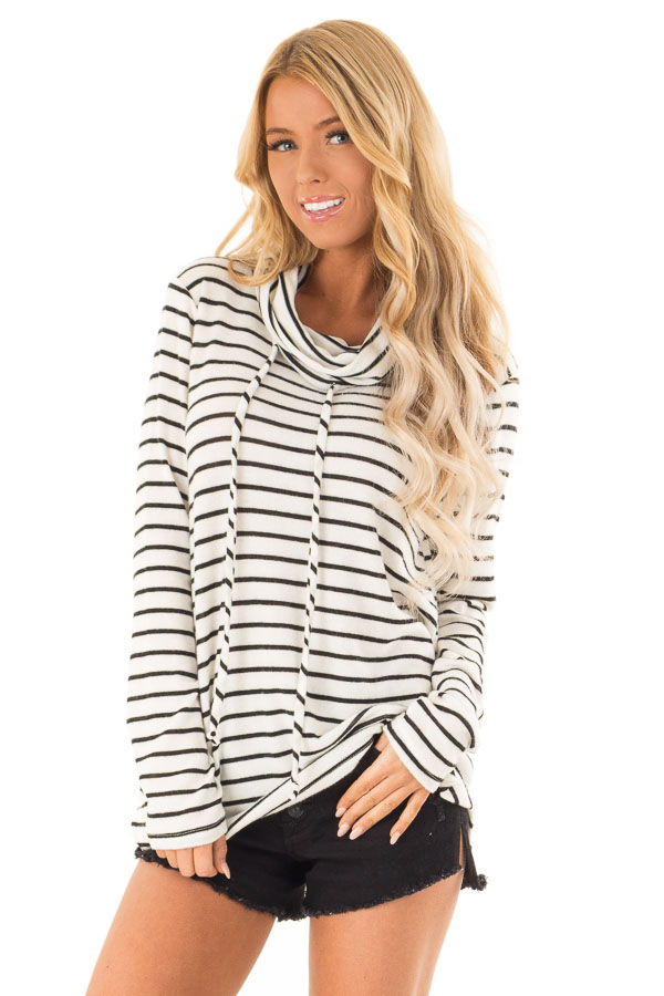 6987e92e08d0 Black and Ivory Striped Cowl Neck Long Sleeve Top - Lime Lush Boutique