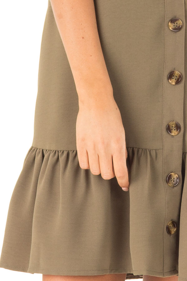 Olive Button Up Dress with Side Pockets and Ruffle Hemline detail