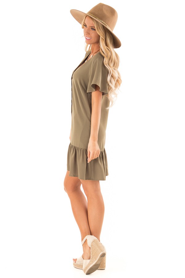 Olive Button Up Dress with Side Pockets and Ruffle Hemline side full body