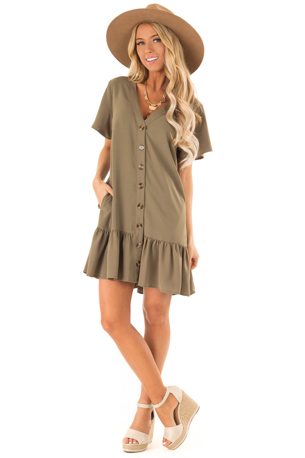 Olive Button Up Dress with Side Pockets and Ruffle Hemline front full body
