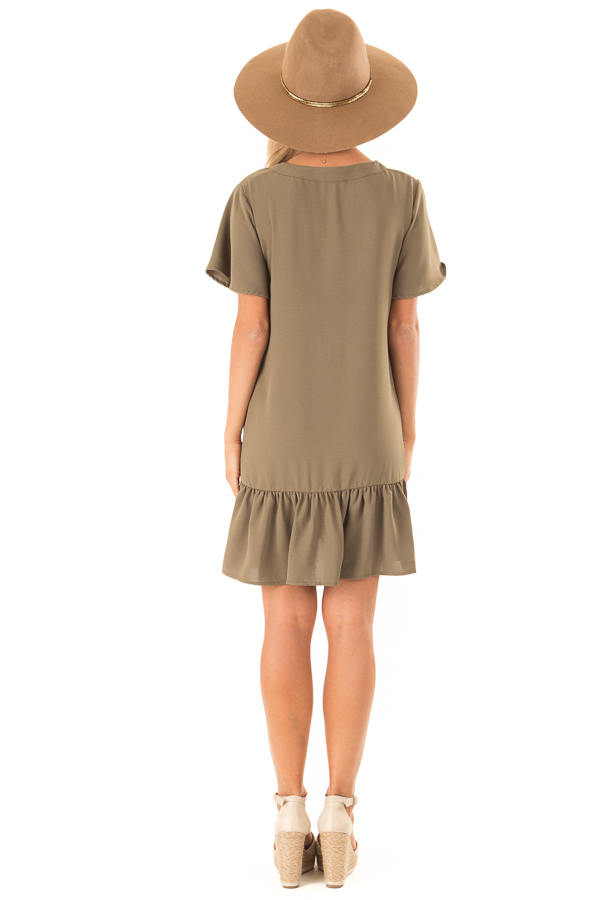 Olive Button Up Dress with Side Pockets and Ruffle Hemline back full body