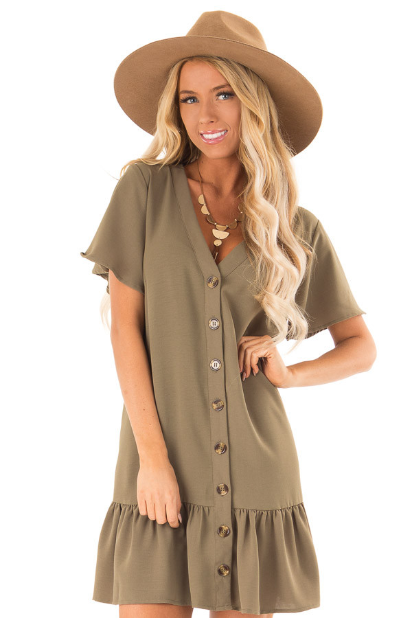 Olive Button Up Dress with Side Pockets and Ruffle Hemline front close up