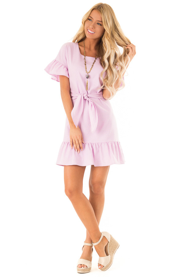 0b295b8c279 Lilac Short Sleeve Ruffle Dress with Front Tie