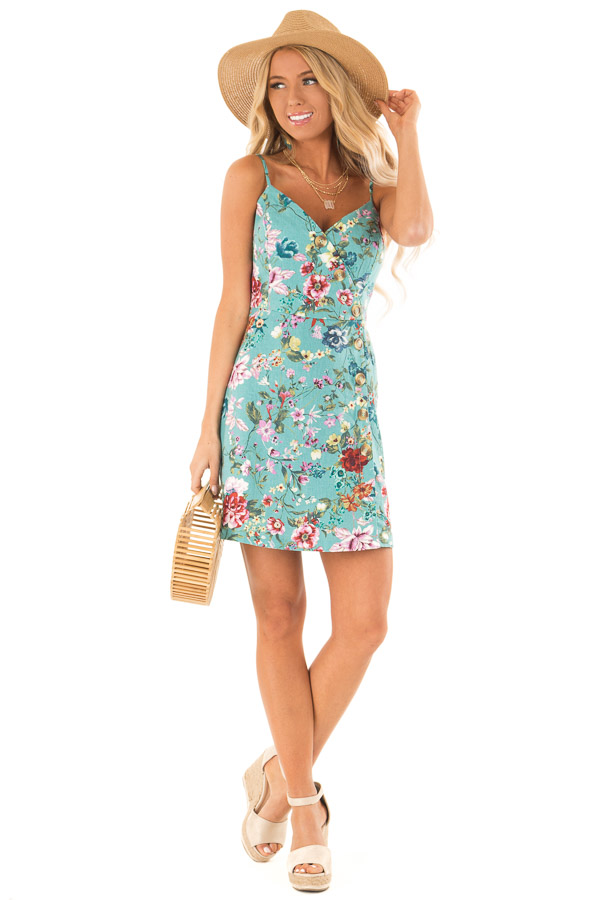 dd5fa1df346f Dusty Teal Floral Print Sleeveless Button Up Mini Dress front full body
