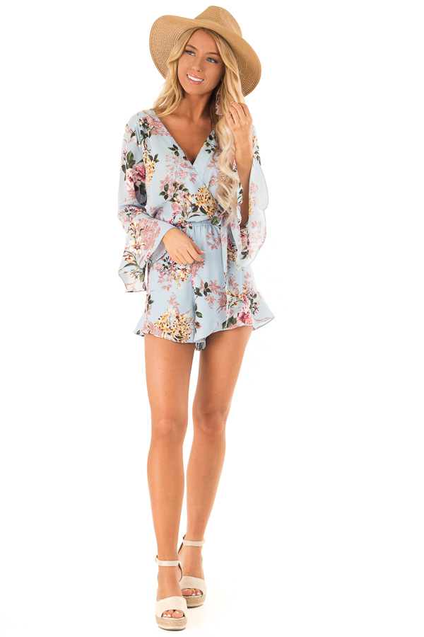 Sky Blue Floral Wrap Style Romper with 3/4 Flare Sleeves front full body