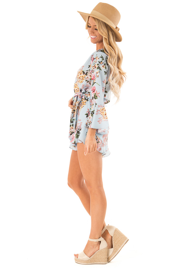 Sky Blue Floral Wrap Style Romper with 3/4 Flare Sleeves side full body