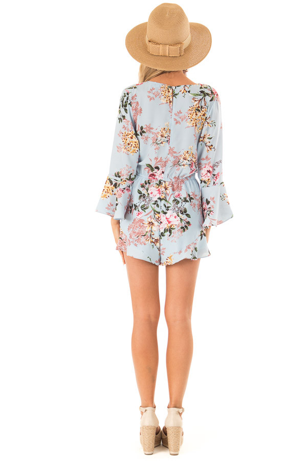 Sky Blue Floral Wrap Style Romper with 3/4 Flare Sleeves back full body