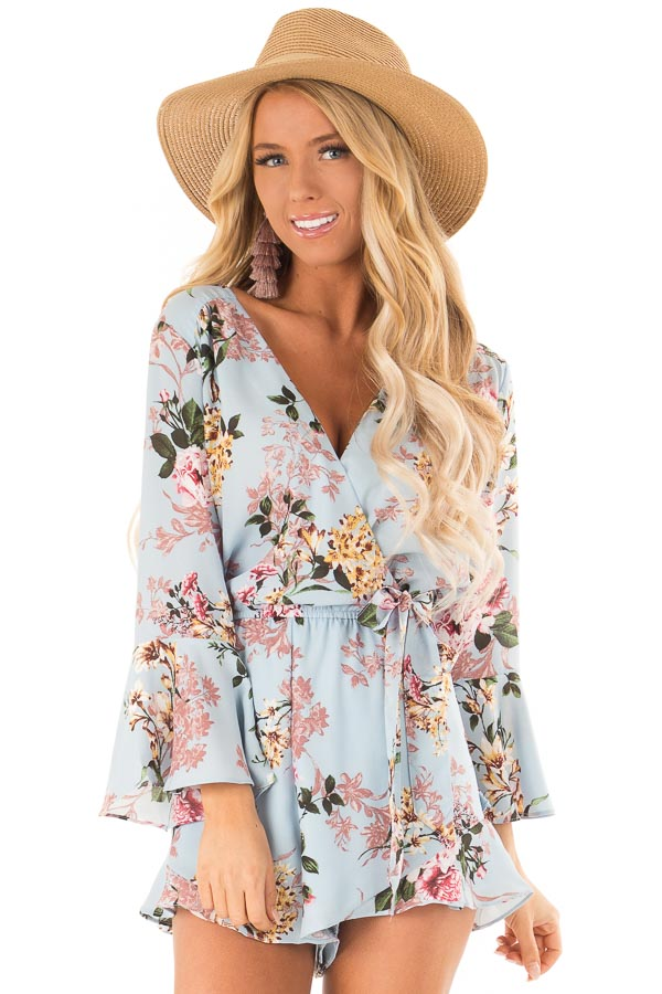 Sky Blue Floral Wrap Style Romper with 3/4 Flare Sleeves front close up