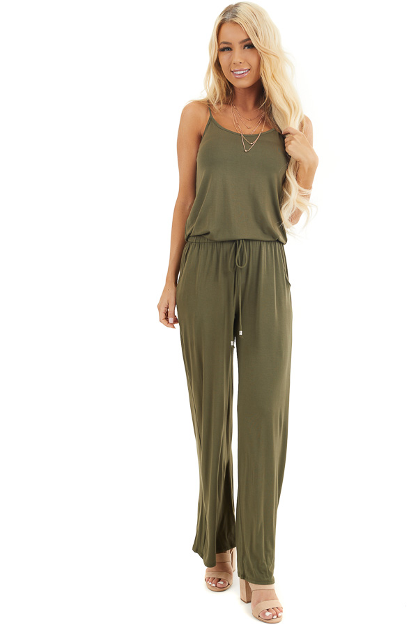 Olive Sleeveless Jumpsuit with Waist Tie and Pockets front full body