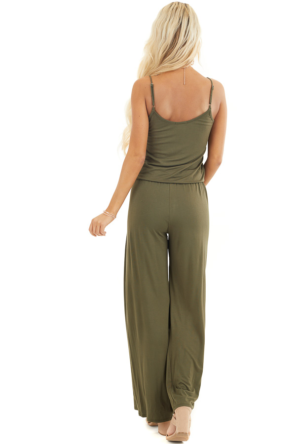 Olive Sleeveless Jumpsuit with Waist Tie and Pockets back full body