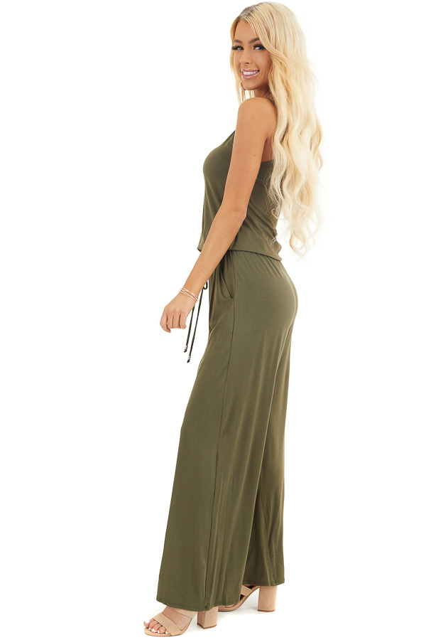 Olive Sleeveless Jumpsuit with Waist Tie and Pockets side full body
