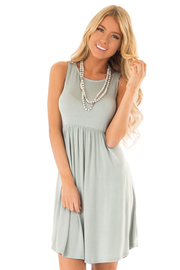 Blue Sage Sleeveless Short Swing Dress front close up