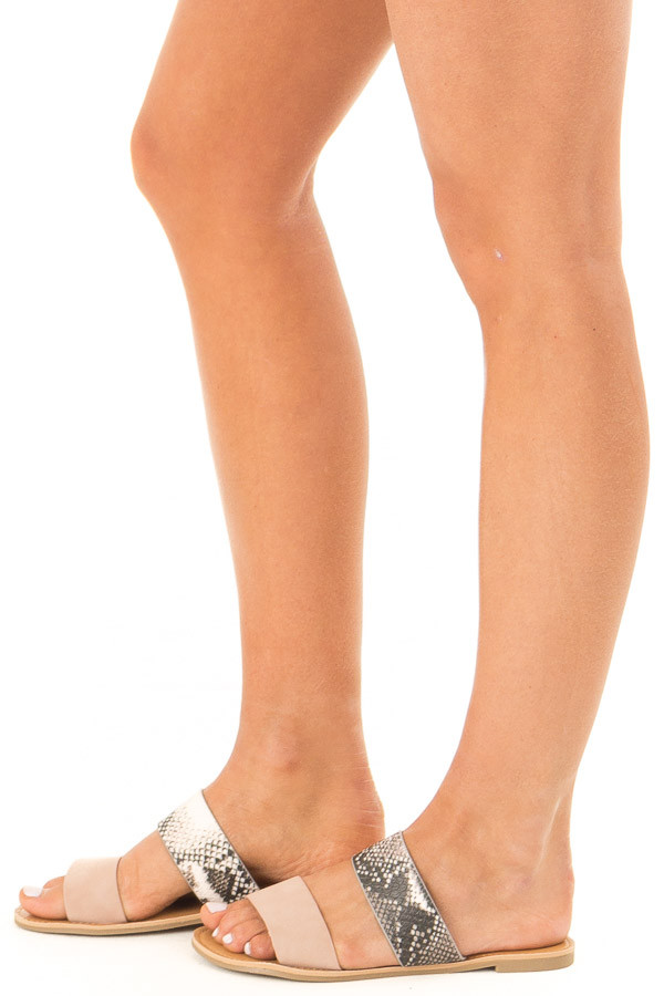 Blush and Snake Print Strappy Slip On Sandals side view