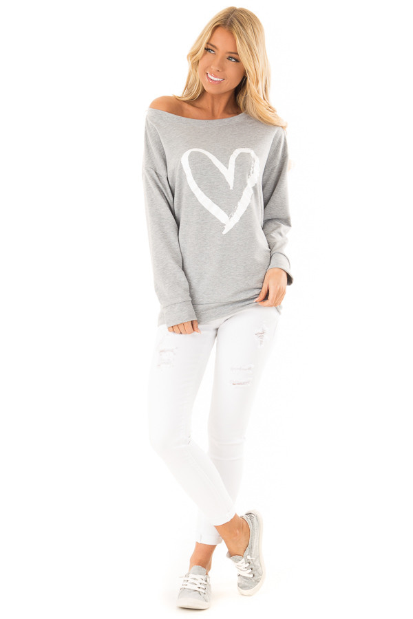 Heather Grey Off Shoulder Pullover Top with Heart Print front full body