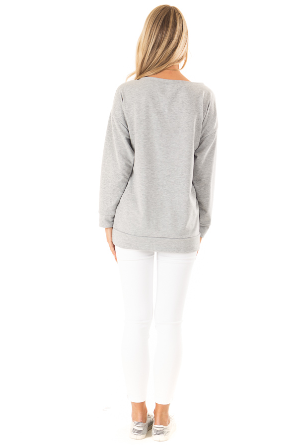 Heather Grey Off Shoulder Pullover Top with Heart Print back full body