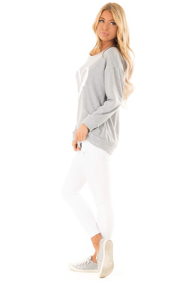 Heather Grey Off Shoulder Pullover Top with Heart Print side full body
